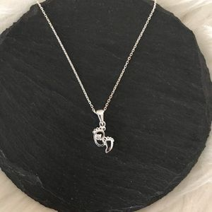 Baby Feet Necklace Sterling Silver